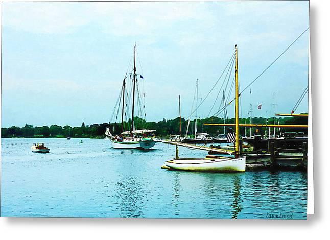 Sail Boats Greeting Cards - Boats on a Calm Sea Greeting Card by Susan Savad