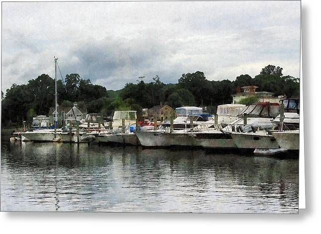 Boat Greeting Cards - Boats on a Cloudy Day Essex CT Greeting Card by Susan Savad