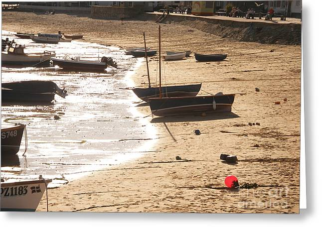 Fog Mist Greeting Cards - Boats on beach 02 Greeting Card by Pixel  Chimp