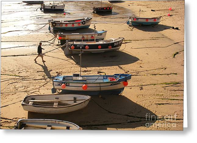 Boats On Beach Greeting Card by Pixel  Chimp