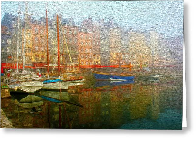 Boats In Water Mixed Media Greeting Cards - Boats on Fog. Greeting Card by Carlos Villegas