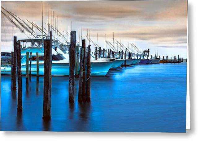 Oregon Artist Greeting Cards - Boats on Glass II - Outer Banks Greeting Card by Dan Carmichael