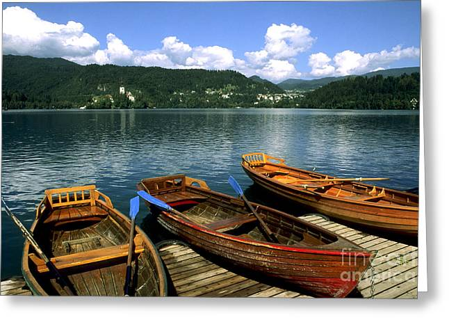 Bled Greeting Cards - Boats On Lake Bled, Slovenia Greeting Card by Bill Bachmann