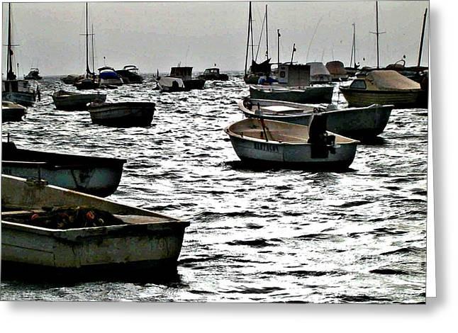 Sarah Loft Greeting Cards - Boats on Mar Menor Greeting Card by Sarah Loft