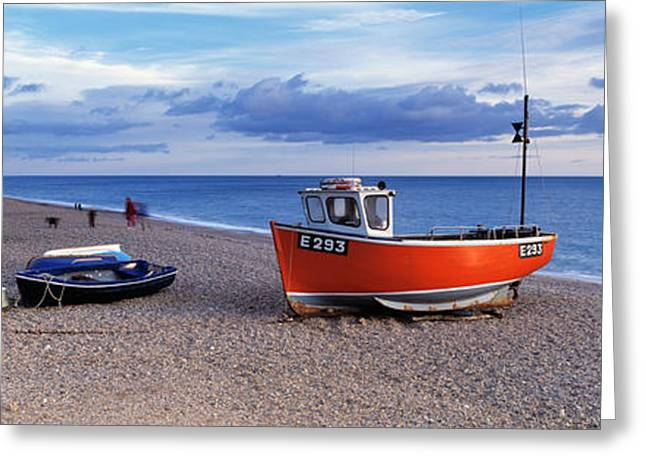 Beach Photography Greeting Cards - Boats On The Beach, Branscombe Beach Greeting Card by Panoramic Images