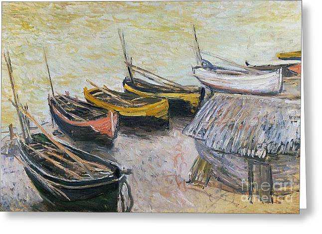 Docked Sailboats Paintings Greeting Cards - Boats on the Beach Greeting Card by Claude Monet