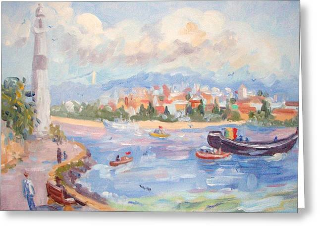 Seascape With A Boat Greeting Cards - Boats on the Bosphorus Istanbul Greeting Card by Elinor Fletcher