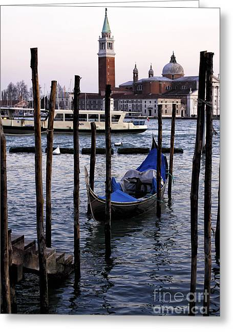 Boats On Water Greeting Cards - Boats on the Canal Greeting Card by John Rizzuto