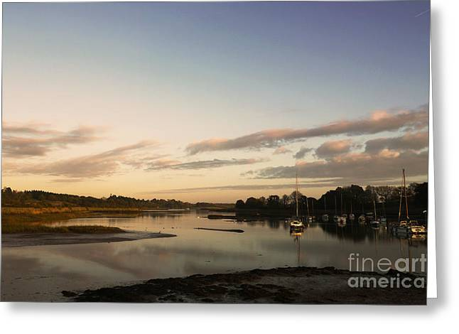 Gorgeous Sunset Greeting Cards - Boats on the creek Greeting Card by Pixel Chimp