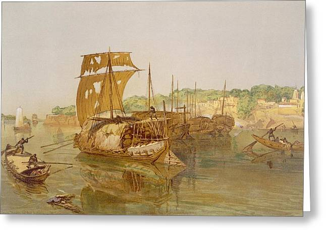 Indian Drawings Greeting Cards - Boats On The Ganges, From India Ancient Greeting Card by William