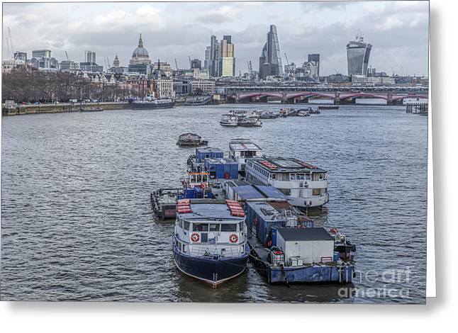 Transport For London Greeting Cards - Boats on the River Thames in London Greeting Card by Philip Pound