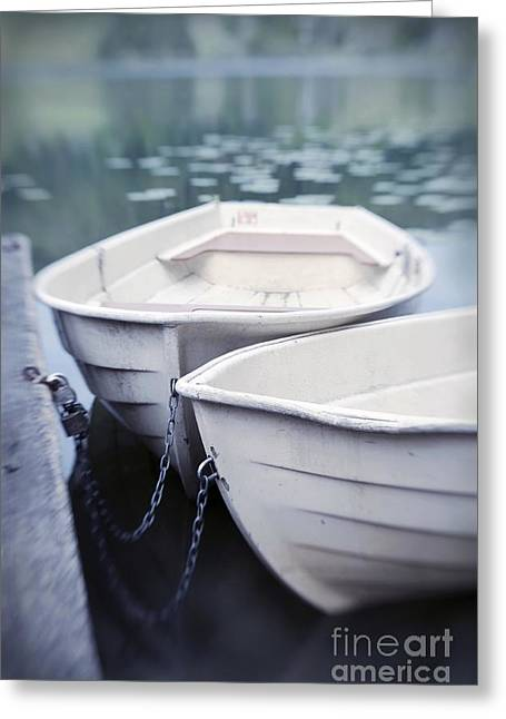 Rowing Boat Greeting Cards - Boats Greeting Card by Priska Wettstein
