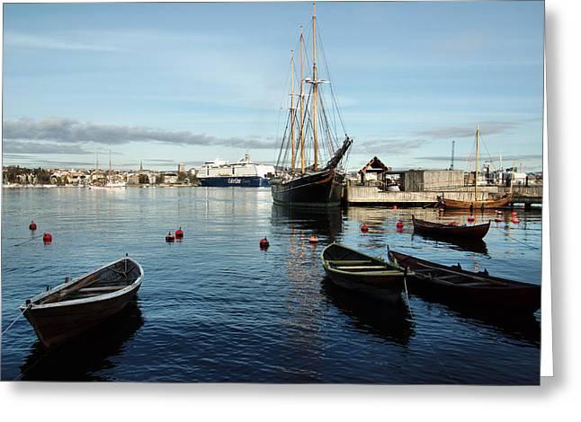 Oslo Greeting Cards - Boats. Greeting Card by Sergei Zinovjev