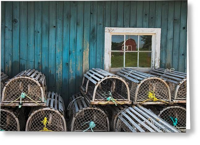 Princes Greeting Cards - Boatshed and Lobster Traps in Rustico P E I Greeting Card by Kasandra Sproson