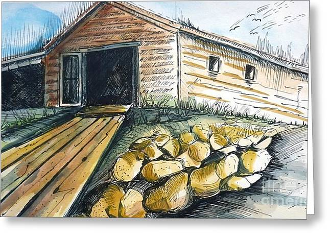 Boatshed - Pacific Creek - Original Sold Greeting Card by Therese Alcorn