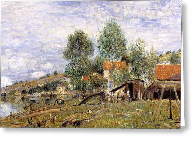 French Countryside Greeting Cards - Boatyard at Saint-Mammes Greeting Card by Alfred Sisley