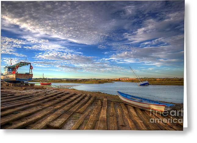 Praia De Faro Greeting Cards - Boatyard Slipway Greeting Card by English Landscapes