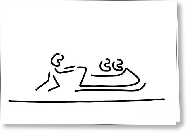 Sledge Drawings Greeting Cards - Bob bobfahrer wintersport Greeting Card by Lineamentum