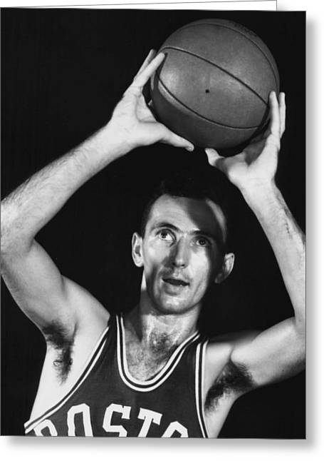 Famous Basketball Players Greeting Cards - Bob Cousy of the Boston Celtics 1950s Greeting Card by Mountain Dreams