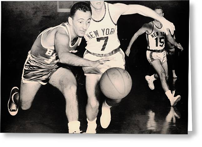 Celtics Basketball Greeting Cards - Bob Cousy of the Celtics 1960 Greeting Card by Mountain Dreams