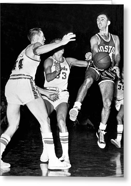 Jerry West Greeting Cards - Bob Cousy Passes Basketball Greeting Card by Underwood Archives