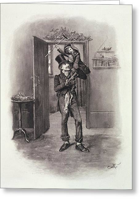 Clerk Greeting Cards - Bob Cratchit And Tiny Tim, From Charles Greeting Card by Frederick Barnard