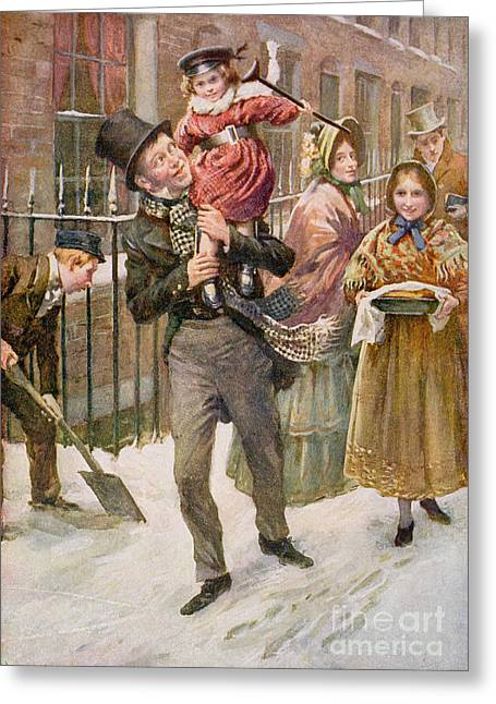 Charles Dickens Greeting Cards - Bob Cratchit and Tiny Tim Greeting Card by Harold Copping