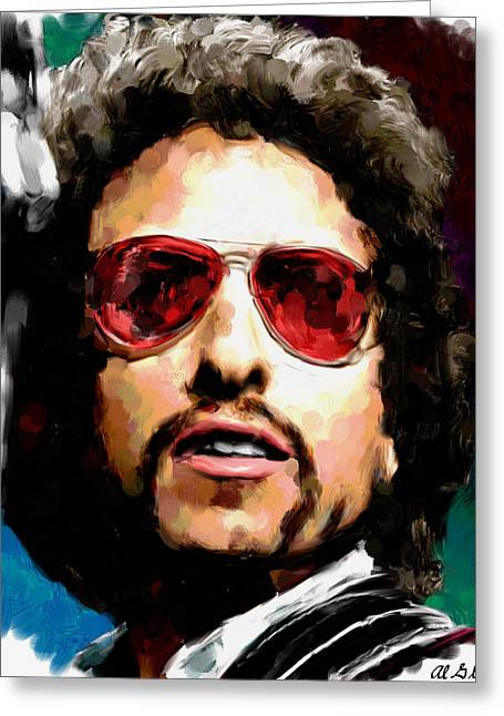 Allen Glass Greeting Cards - Bob Dylan 1974 Greeting Card by Allen Glass