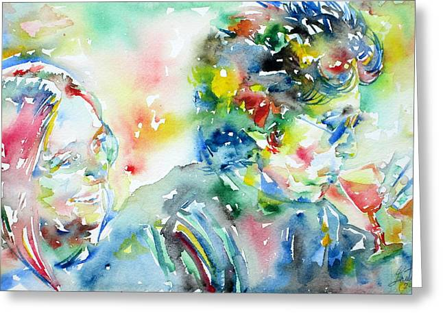 Bob Dylan Paintings Greeting Cards - BOB DYLAN and JOAN BAEZ WATERCOLOR PORTRAIT.1 Greeting Card by Fabrizio Cassetta