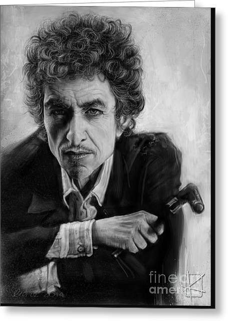 Wacom Greeting Cards - Bob Dylan Greeting Card by Andre Koekemoer