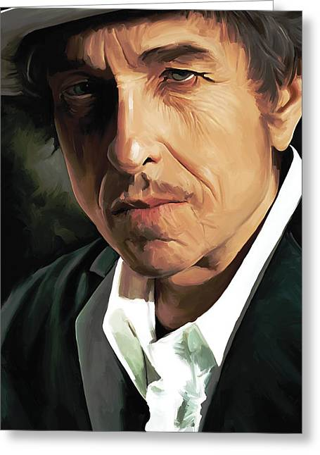 Singer Songwriter Greeting Cards - Bob Dylan Artwork Greeting Card by Sheraz A