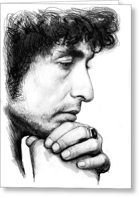 Popular Music Greeting Cards - Bob Dylan Blackwhite Drawing Sketch Poster Greeting Card by Kim Wang