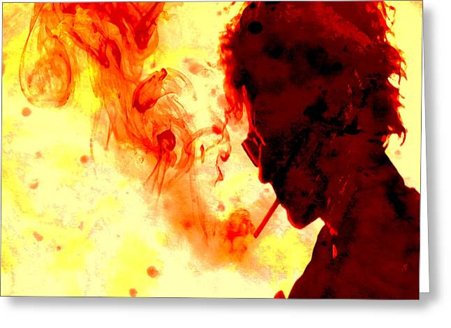 Robert Allen Zimmerman Greeting Cards - Bob Dylan Burning One Greeting Card by Brian Reaves