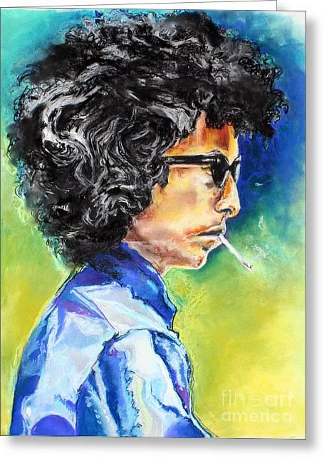 1960 Pastels Greeting Cards - Bob Dylan Greeting Card by Kim Chigi