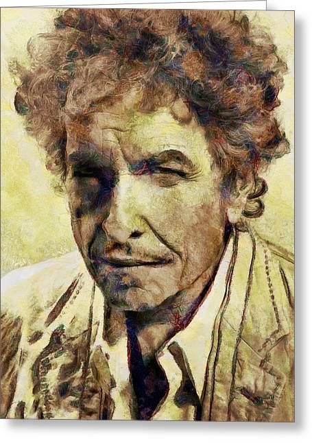 Recently Sold -  - Printmaking Greeting Cards - Bob Dylan Greeting Card by Nikola Durdevic