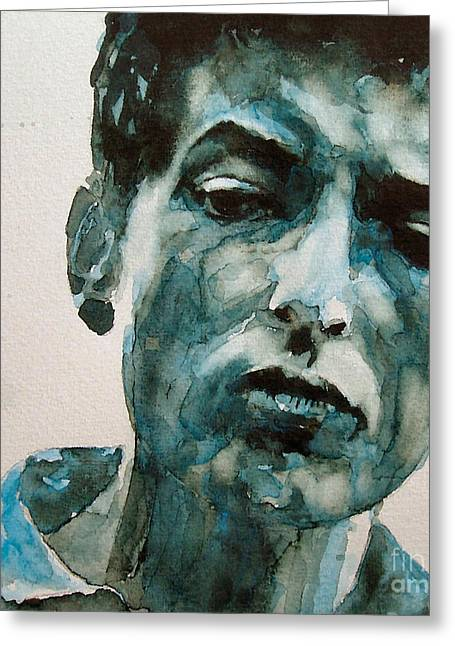 Singer Songwriter Greeting Cards - Bob Dylan Greeting Card by Paul Lovering