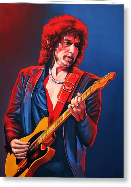 Trains Paintings Greeting Cards - Bob Dylan Greeting Card by Paul Meijering