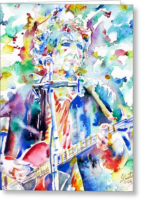 Bob Gibson Greeting Cards - BOB DYLAN playing the GUITAR - watercolor portrait.1 Greeting Card by Fabrizio Cassetta