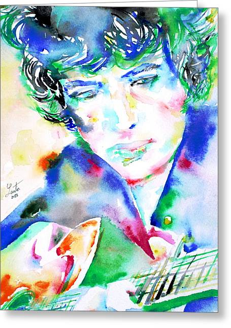 Bob Gibson Greeting Cards - BOB DYLAN playing the GUITAR - WATERCOLOR PORTRAIT.2 Greeting Card by Fabrizio Cassetta