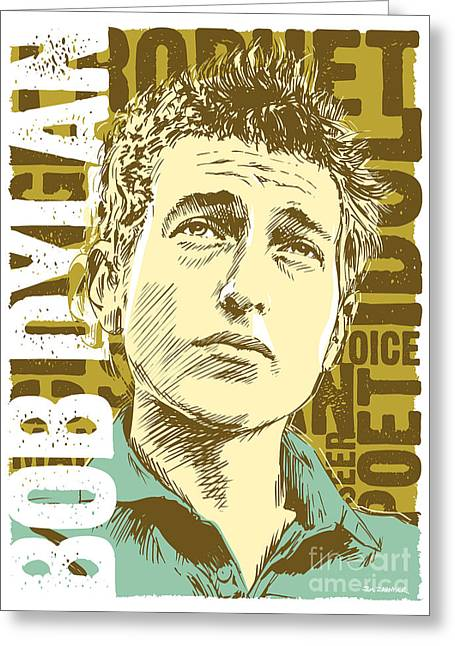 Greenwich Village Greeting Cards - Bob Dylan Pop Art Greeting Card by Jim Zahniser