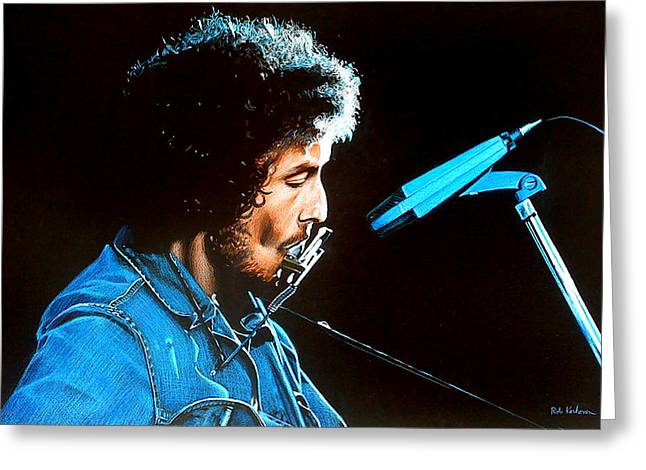 Gospel Greeting Cards - Bob Dylan Portrait Greeting Card by Robert Korhonen