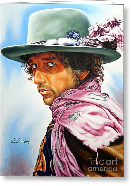 Bob Dylan Print Greeting Cards - Bob Dylan Greeting Card by Spiros Soutsos