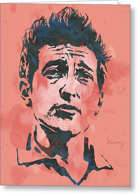 Many Mixed Media Greeting Cards - Bob Dylan - Stylised Etching Pop Art Poster Greeting Card by Kim Wang