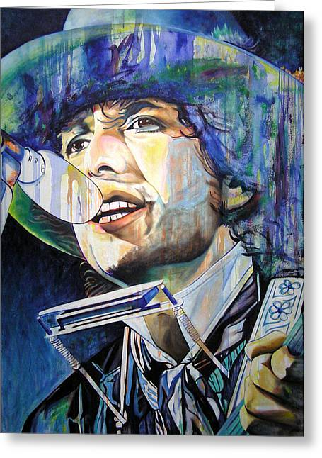 Singer Paintings Greeting Cards - Bob Dylan Tangled up in Blue Greeting Card by Joshua Morton