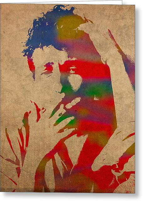 Bobbed Greeting Cards - Bob Dylan Watercolor Portrait on Worn Distressed Canvas Greeting Card by Design Turnpike