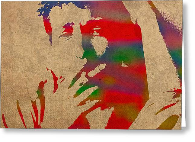 Bob Dylan Watercolor Portrait on Worn Distressed Canvas Greeting Card by Design Turnpike