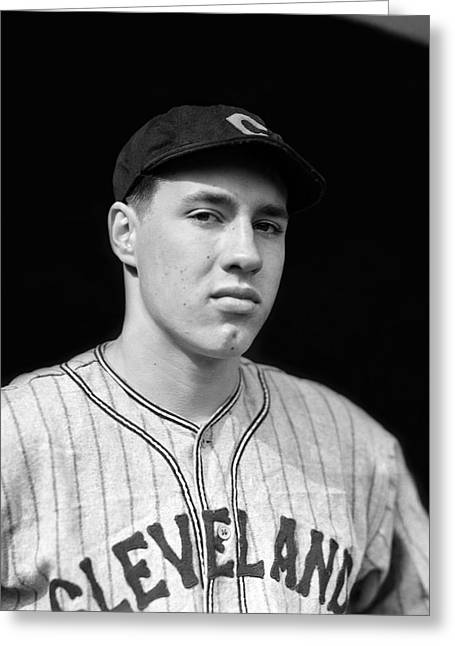 Cleveland Indians Greeting Cards - Bob Feller Looking Into Camera Greeting Card by Retro Images Archive