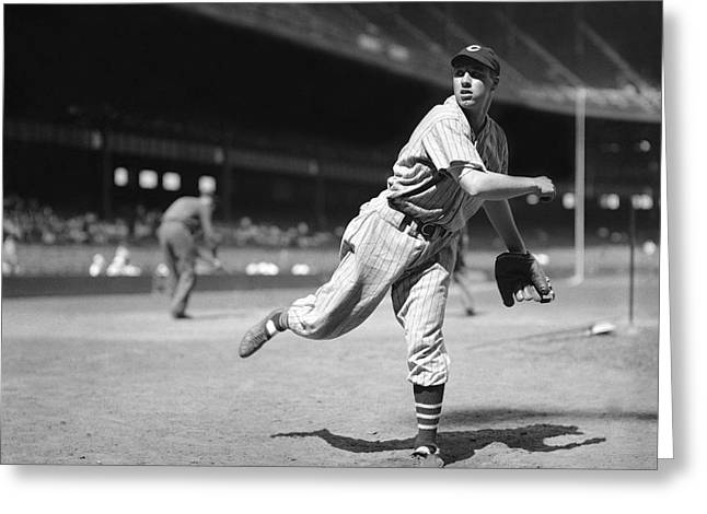 Cleveland Indians Greeting Cards - Bob Feller Pitches Greeting Card by Retro Images Archive