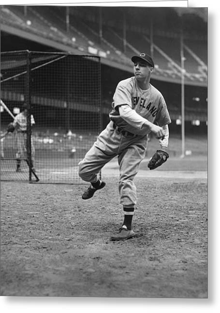 Pitching Greeting Cards - Bob Feller Pitching In Warm Up Greeting Card by Retro Images Archive