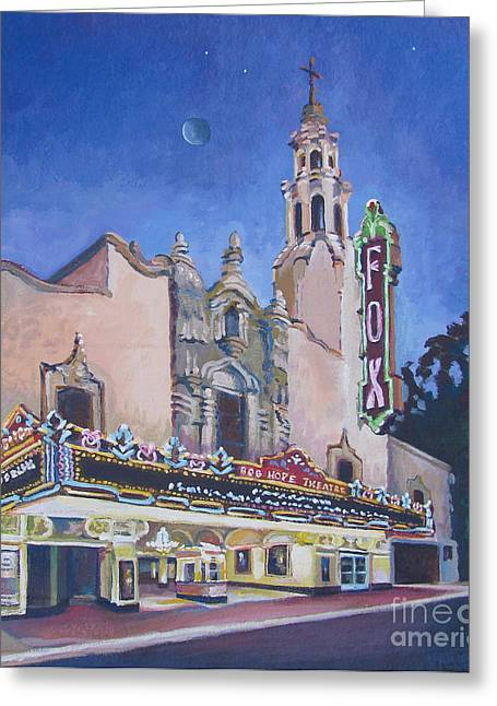 Stockton Paintings Greeting Cards - Bob Hope Theatre Greeting Card by Vanessa Hadady BFA MA